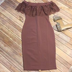 NWT Mauve Lace Off-Shoulder Midi Dress